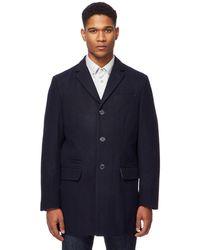 Ben Sherman - Navy Single-breasted Wool-blend Epsom Coat - Lyst