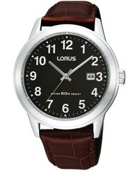 Lorus Men's Black Round Dial Silver Case Watch Rh927bx9 - Metallic