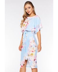 Quiz Pale Floral Print Batwing Dress - Blue