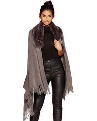 Quiz - Grey Fur Collar Knit Cape - Lyst