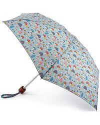 Cath Kidston Multi-colored Mini Mushrooms 'tiny 2' Wind Resistant Umbrella - Blue