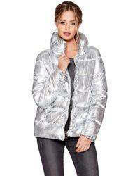 Quiz - Silver Metallic Padded Jacket - Lyst