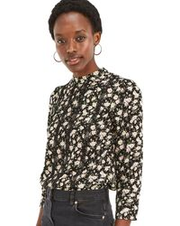 Oasis - Multi Black Ditsy Lace Trim Top - Lyst