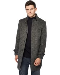 052653716 Dark Grey Collared Epsom Coat With Wool - Gray