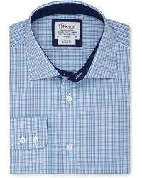 Tm Lewin - Regular Fit Blue Navy Multi Check Regular Sleeve Length Shirt - Lyst