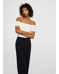 Mango - White 'janire' Bardot Neck Top - Lyst