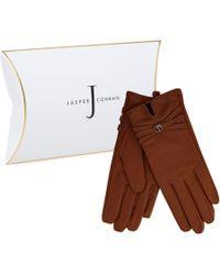 J By Jasper Conran - Tan Leather Branded Strap Gloves - Lyst