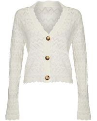 Yumi' Ivory Knitted Cardigan - White