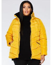 Quiz - Curve Mustard Padded Jacket - Lyst