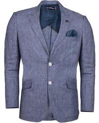 Raging Bull - Mid Blue Linen Check Blazer - Lyst