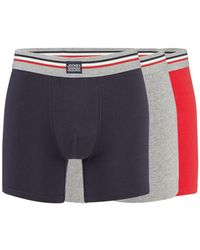 Jockey - Pack Of Three Red Navy And Grey Boxer Trunks - Lyst