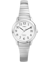 Timex Ladies Easy Reader White Dial With Expansion Band Watch T2h371 - Metallic