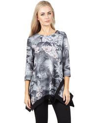 Izabel London - Grey Oversized Asymmetric Top - Lyst