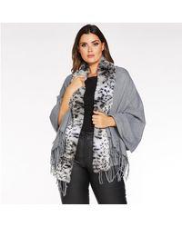 Quiz Leopard Print Faux Fur Trim Knit Cape - Gray
