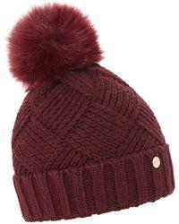 Dune - Dark Red 'freyya' Pom Pom Trim Knitted Hat - Lyst
