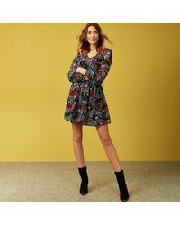 Red Herring Black Floral Print Tiered Hem Mini Dress - Yellow