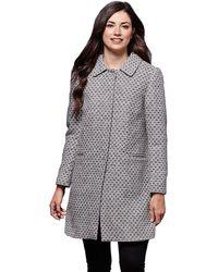 Yumi' - Grey Textured Coat - Lyst