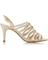 6b165b02e87 Roland Cartier - Gold  mellisa  Mid Stiletto Heel Ankle Strap Sandals - Lyst