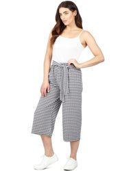 Izabel London - Multicoloured Check Print Wide Leg Trousers - Lyst
