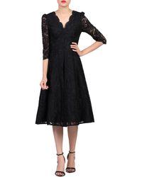 Jolie Moi Puff Shoulder V-neck Lace Dress - Black