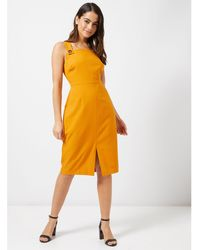 6cae57ffbb5 Miss Selfridge Ochre Floral Midi Wrap Dress in Black - Lyst