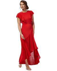 Début - Red Ruffle Midi Dress - Lyst