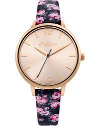 Cath Kidston Navy Floral Analogue Strap Watch Sckl084urg - Metallic