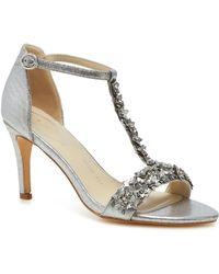 Début Silver Floral Embellishment 'danika' High Stiletto Heel Wide Fit T-bar Sandals - Metallic