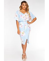 Quiz Petite Light Batwing Belted Midi Dress - Blue