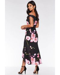 Quiz And Pink Bardot Floral Print Fishtail Midi Dress - Black