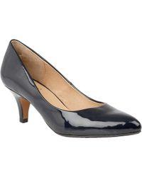 Lotus - Navy Patent 'clio' Mid Stiletto Heel Court Shoes - Lyst