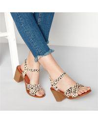 21ed77d8b30 Leather 'dita' Block Heel Sandals - Natural
