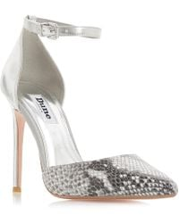 Dune - Grey Leather 'dixey' High Stiletto Heel Court Shoes - Lyst