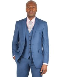 Racing Green - Bright Blue Pick And Pick Tailored Fit 2 Button Suit Jacket - Lyst