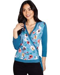 Yumi' Floral Woven Wrap Cardigan - Blue
