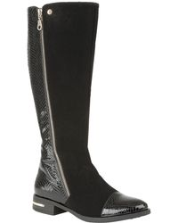 Lotus - Black 'pontal' Block Heel Knee High Boots - Lyst