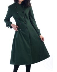 Jolie Moi - Green Double Breasted Flare Coat - Lyst