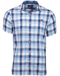 Raging Bull - Mid Blue Short Sleeve Check Shirt - Lyst