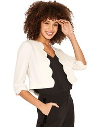 Oasis - Off White Scallop Edge To Edge Crop Jacket - Lyst