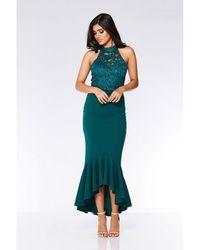 0ddf90b53758 Quiz - Bottle Green Sequin Lace Turtle Neck Maxi Dress - Lyst