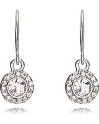Pilgrim Silver Circle Diamante Drop Earrings - Metallic