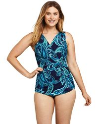 Lands' End - Wrap Front Tunic Slender Swimsuit, Patt - Lyst