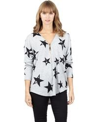 Izabel London - Grey Star Print Oversized Zip Top - Lyst