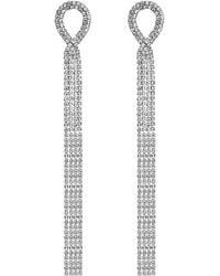 Red Herring - Silver Diamante Loop Drop Earrings - Lyst