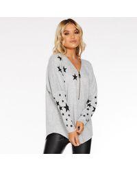 Quiz Knit Star Print Zip Front Top - Gray