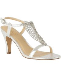 1aab3e15c4d Lotus - Silver Diamante  lola  High Stiletto Heel Ankle Strap Sandals - Lyst