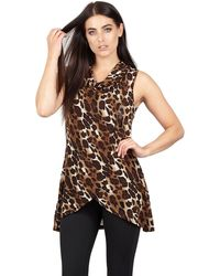 Izabel London - Brown Animal Print Cowl Neck Top Wit Crossover - Lyst