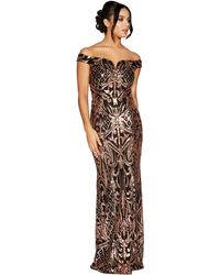 Quiz - Black And Rose Gold Sequin Bardot Maxi Dress - Lyst