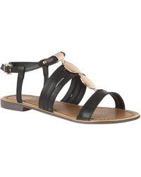 Lotus - Black 'alpine' T-bar Sandals - Lyst
