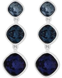 J By Jasper Conran Silver Plated 3 Tone 3 Drop Earrings - Blue